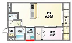 エーデ田辺[2階]の間取り