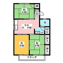 フリーダムナカオ B棟[2階]の間取り