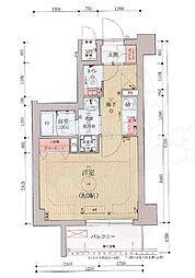 ベラジオ京都西院ウエストシティ3 1階1Kの間取り