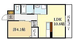 (仮称)宇治市神明賃貸マンション 2階1LDKの間取り