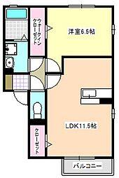 三重県四日市市万古町の賃貸アパートの間取り