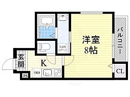 フジパレス下新庄駅東1番館 1階1Kの間取り