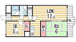 フローリッシュ北田[8階]の間取り