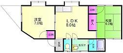 桂コーポ[1階]の間取り