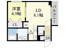 札幌市営東豊線 環状通東駅 徒歩2分の賃貸マンション 3階1LDKの間取り