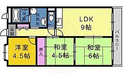 南海高野線 萩原天神駅 徒歩3分の賃貸マンション 3階3LDKの間取り