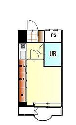 JR中央線 国立駅 徒歩10分の賃貸マンション 地下1階1Kの間取り
