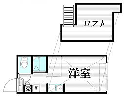 ファーストハウス中野上鷺ノ宮 2階ワンルームの間取り