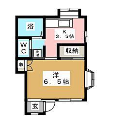 コサージュ宮町[1階]の間取り