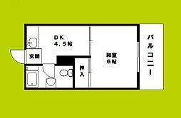 ゴールデンハウス菅北 2階1DKの間取り