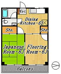 市川マンション[1階]の間取り