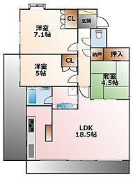 兵庫県西宮市浜松原町の賃貸マンションの間取り