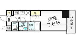 レジュールアッシュ梅田LUXE 8階1Kの間取り
