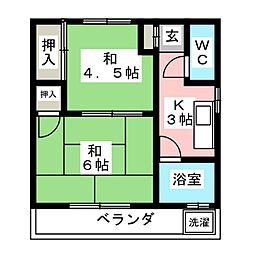 コーポカモダ1[2階]の間取り