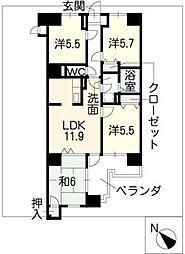 COMERSU V[4階]の間取り