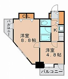 福岡県福岡市博多区堅粕4丁目の賃貸マンションの間取り