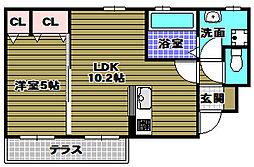ユタリ 1階1LDKの間取り