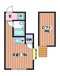 東京都小平市喜平町1丁目の賃貸アパートの間取り