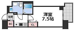 セレニテ谷九プリエ 11階1Kの間取り
