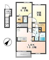 クオーレI[2階]の間取り