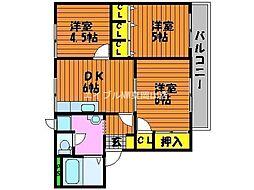 岡山県岡山市中区乙多見丁目なしの賃貸アパートの間取り