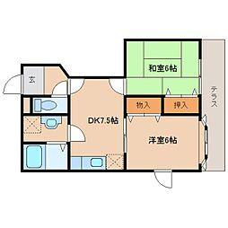 奈良県橿原市高殿町の賃貸アパートの間取り