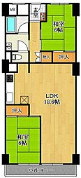 鐘紡夙川台マンション[3階]の間取り