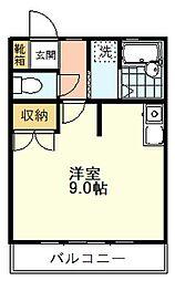 日吉コーポ 1階ワンルームの間取り