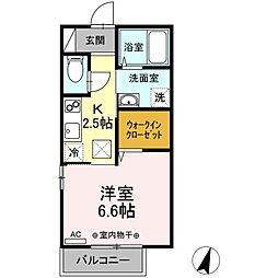 D-room鐙 1階1Kの間取り
