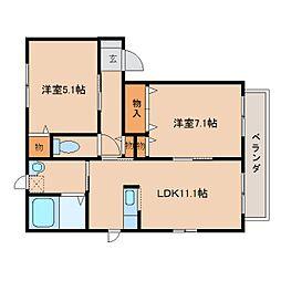 奈良県高市郡高取町観覚寺の賃貸アパートの間取り