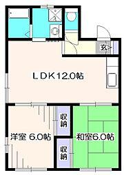 埼玉県新座市石神4丁目の賃貸アパートの間取り