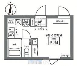 JR山手線 御徒町駅 徒歩10分の賃貸マンション 3階ワンルームの間取り