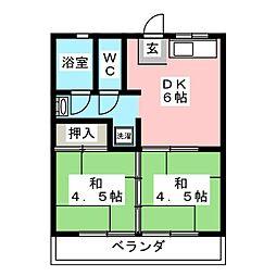 ハイツ松原[3階]の間取り