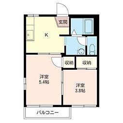 コ−ポ富士富[2階]の間取り
