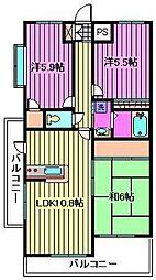 埼玉県川口市本町2丁目の賃貸マンションの間取り