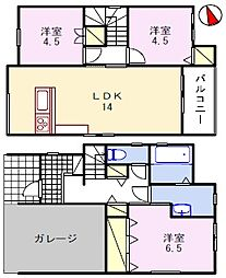 [一戸建] 兵庫県姫路市若菜町1丁目 の賃貸【/】の間取り