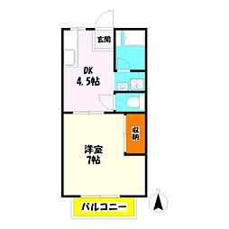 パナハイツ杉No.2[2階]の間取り