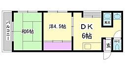 兵庫県神戸市長田区駒ヶ林町1丁目の賃貸マンションの間取り