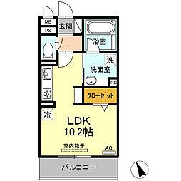 仮)D-room小井堀町 2階ワンルームの間取り