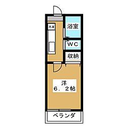 ウイング矢川 1階1Kの間取り