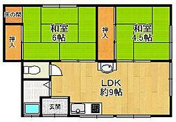 中野町ハイツ[2階号室]の間取り