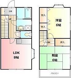 [テラスハウス] 神奈川県秦野市平沢 の賃貸【/】の間取り