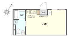 JR京浜東北・根岸線 鶯谷駅 徒歩7分の賃貸マンション 4階ワンルームの間取り