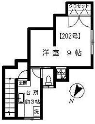 石橋荘[202号室]の間取り
