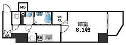 ワールドアイ天王寺ミラージュII 8階1Kの間取り