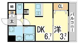JR東海道・山陽本線 新長田駅 徒歩3分の賃貸マンション 10階1DKの間取り