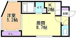 Uranos N13 1階1LDKの間取り