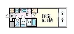 Osaka Metro谷町線 谷町九丁目駅 徒歩6分の賃貸マンション 8階1Kの間取り