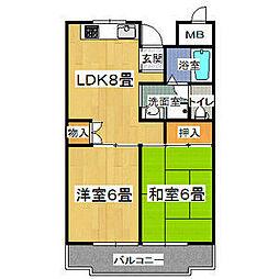 シャンポール東大阪[2階]の間取り