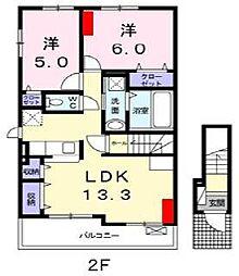 愛媛県松山市桑原2丁目の賃貸アパートの間取り